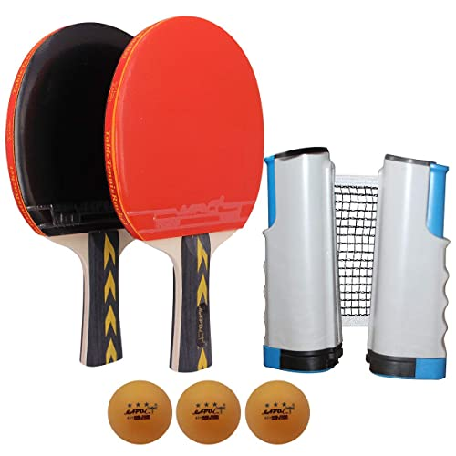 4 Professional Paddles Ping Pong Paddle Set with Retractable Table Tennis Net
