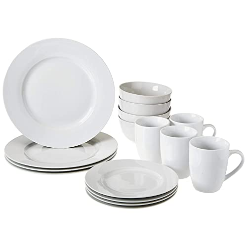 Buy Amazon Basics 16 Piece Kitchen Dinnerware Set Plates Bowls Mugs Service For 4 White Online In Canada B0157fd02c