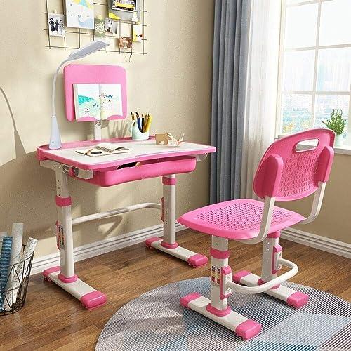 Cantonape Kids Desk And Chair Set, Pink Metal School Desk