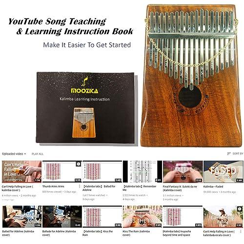 Moozica 17-Key EQ Kalimba Koa Tone Wood Electric Finger Thumb Piano Built-in