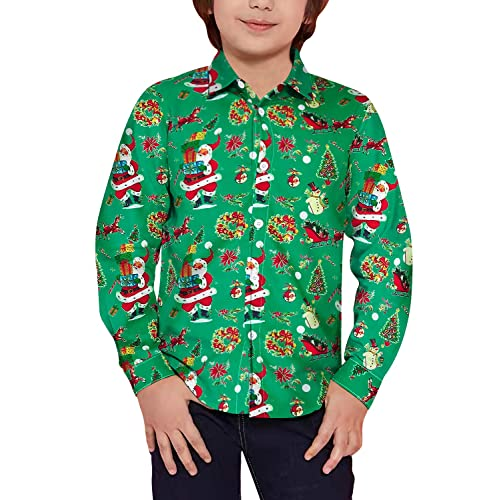 UNICOMIDEA Big Boys 3D Printed Novelty Hawaiian Shirt Button Down Aloha Tees Summer Dress Casual Tops for 7-14 Years Old