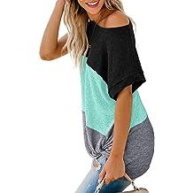5e0cade7751e Asvivid Womens Casual Color Block Long Sleeve Pullover Tops Loose  Lightweight Tunic .