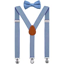 525a6efed80d SUNNYTREE Kids Suspenders Adjustable Y Back with Bow Tie Set